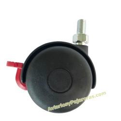 Rueda giratoria con freno para tubo de 25 mm